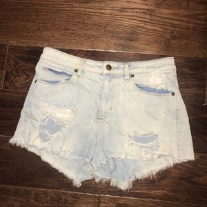 GUESS Distressed Light Blue Jean Shorts